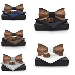 1x Wooden Bow Tie Men's Gifts Fashion Wedding Wood Tuxed Bow