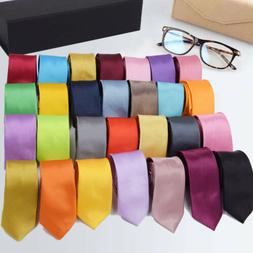 "2"" Men's Tie Classic Skinny Slim Striped Party Plain Silk Ja"