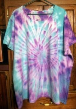 5X Purple / Turquoise Tie Dye Hanes T Shirt Just My Size