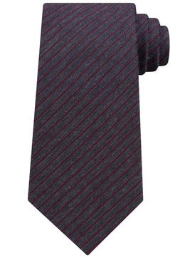 $65 New Mens Michael Kors Wine Stripe Silk Cotton Neck Tie
