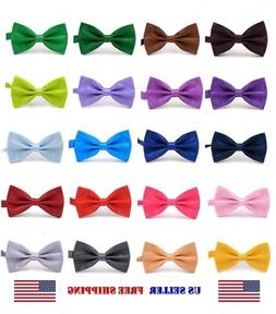 BOW TIE MENS ADJUSTABLE SOLID COLOR WEDDING TUXEDO NECKTIE U