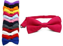 Classic Mens Womens Clip-On Banded Bow Tie Pre Tied Plain Di