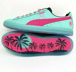 Puma Clyde 1973 South Beach Miami Palm Tree Leather Teal Gre