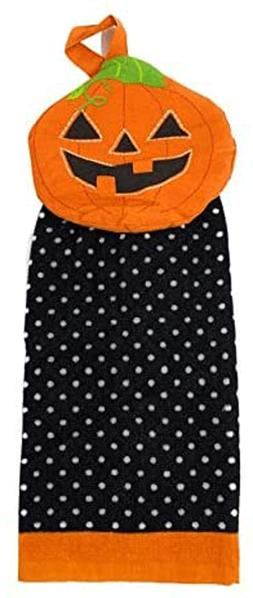 Northeast Home Goods Cotton Kitchen Tie Towel Orange Pumpkin