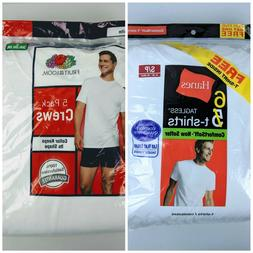 Hanes & Fruit of the Loom SMALL Crew Neck T-shirts White Pac