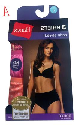 """Hanes Women's Panties BRIEFS 3-Pack 41S3AS """"satin stretch"""""""
