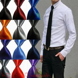 Hot! Solid Plain Classic 100%New Silk Jacquard Woven Necktie