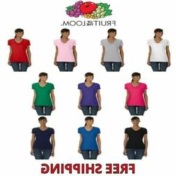 Fruit of the Loom Ladies' 100% Cotton V-Neck T-Shirt Womens
