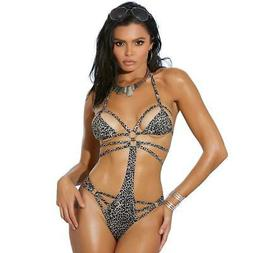 leopard print monokini cut out sides strappy