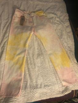Levi's 501 '93 Straight Pink/Yellow Tie Dye Jeans - Men's Si