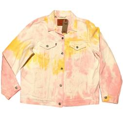 LEVIS Tie Dye Trucker Jacket Mens Size XL Pink Yellow and Wh