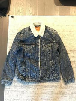 LEVIS Type III Acid Wash Sherpa Denim Jean Jacket Warm Cotto