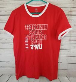 Levis Woman Graphic Ringer Tee Large Red White Kindness Peac
