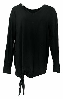AnyBody Long Sleeve Side Tie Top BLACK Size Small NEW