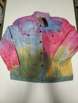 Men's LEVI'S Tie Dye Wash Multicolor Denim Jacket XXL Rare J