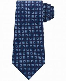 Michael Kors Men's Navy Blue Halo Square Neat Skinny Neck Ti