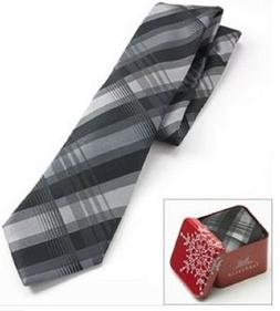 VAN HEUSEN Men's Neck Tie Black Plaid with Red Holiday Gift