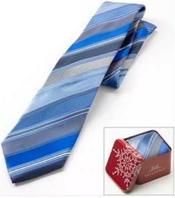 VAN HEUSEN Men's Neck Tie Blue Multi Stripe with Red Holiday