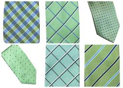 Dockers Men's Neck Tie Green Geo Crosshatch Checkered Stripe