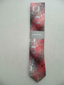Van Heusen Men's Red / Gray Paisley Classic Dress Tie Silk B