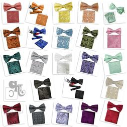 New Men's Bow Tie Paisley Pre-tied Colors Bowtie And Pocket