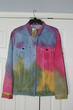 NWT Levi's Trucker Jacket Dead Head Tie Dye Rainbow Mens Siz