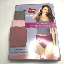 NWT Hanes Premium Women's Smoothing Seamless 3pk High Cut Br