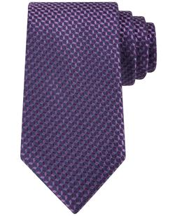 MICHAEL KORS Silk Linked Hexagon Purple Neat Tie New Free Sh
