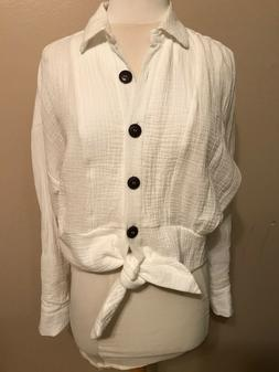 FREE PEOPLE Sunstreaks Tie Front cotton Top,Ivory NWT, #OB88