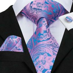 USA Blue Pink Novelty Mens Tie Necktie Silk Jacquard Woven S