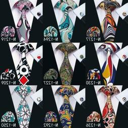 USA Blue Red Black Yellow Men's Tie Set Novelty Floral Silk