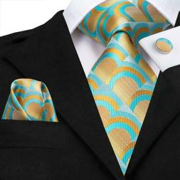 USA Blue Yellow Novelty Men's Fashion Woven Silk Tie Plaid N