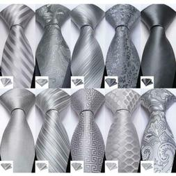 USA Gray Silver Classic Stripped Paisley Floral Silk Tie Set