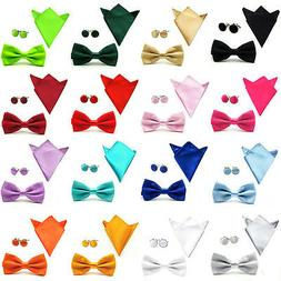 USA Shipping Men Solid Plain Satin Bow Tie Pocket Square Cuf