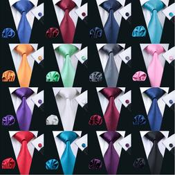 USA Solid Plain Mens Tie Set Silk 50 Colors Red Blue Black G