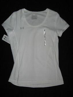 UNDER ARMOUR White Semi Fitted Charged Cotton TEE Top Womens