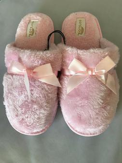 Gold Toe Women's Slippers ~ Pink with Satin Bow-Tie L
