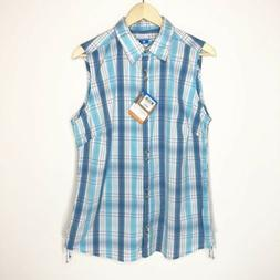 Columbia Women's Top Size XL Blue Plaid Sleeveless Button Up